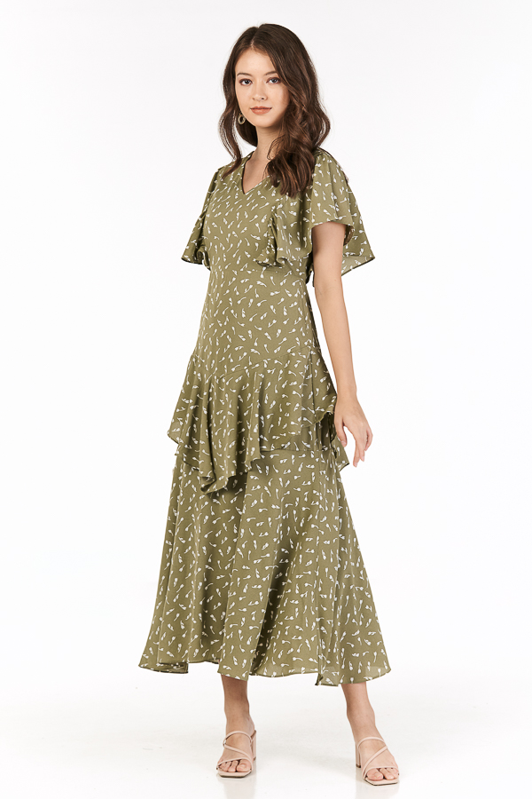Bianca Sleeved Maxi Dress in Sage