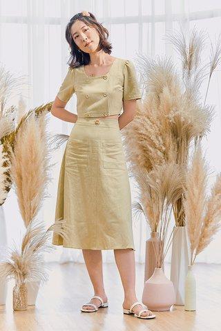 Mckelle Linen Midi Skirt in Mellow Green