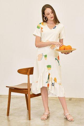 Kolorit Sleeved Midi Dress in Ivory