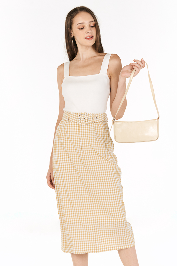 Bretta Gingham Belted Skirt in Khaki