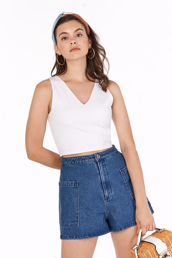 *Backorder 3* Madigan Denim Shorts in Dark Wash