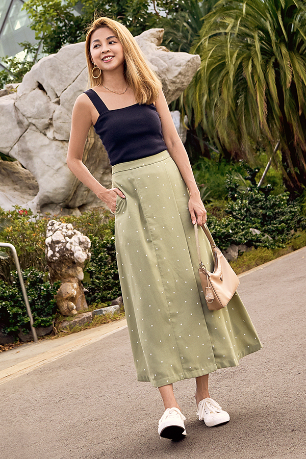 Minford Dotted Midi Skirt in Sage