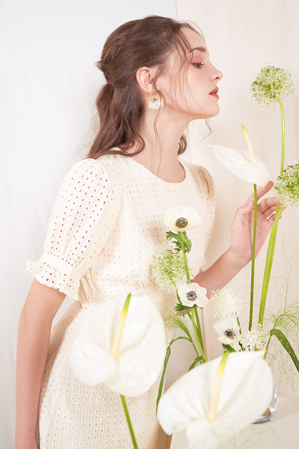 Klaire Eyelet Dress in Cream