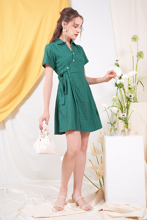 Klaire Eyelet Wrap Dress in Forest
