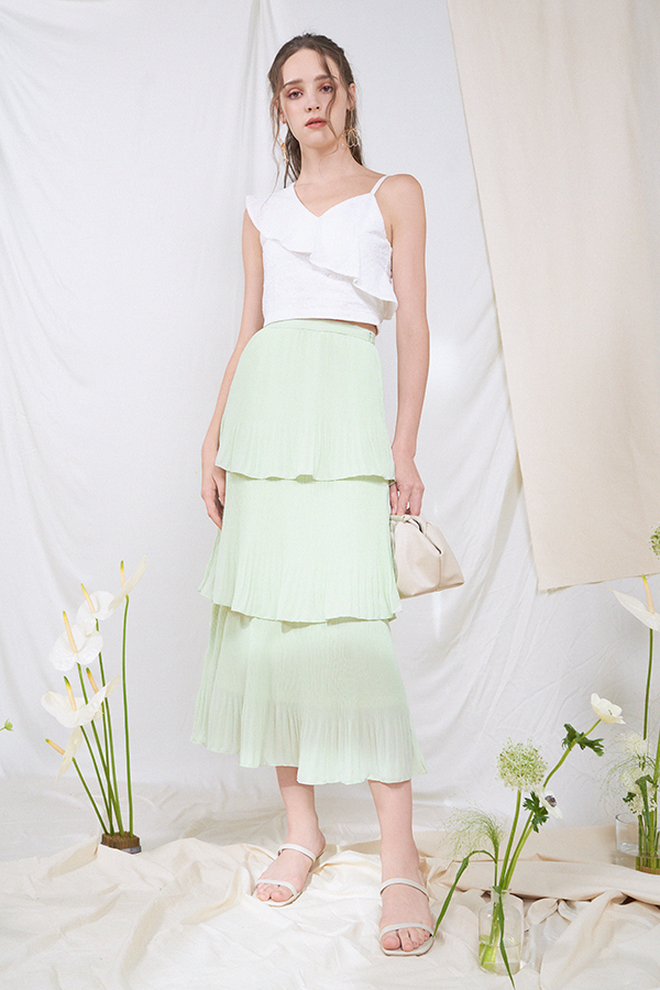 Willia Tiered Midi Skirt in Apple Green