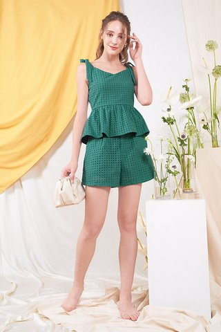 Klaire Eyelet Shorts in Forest