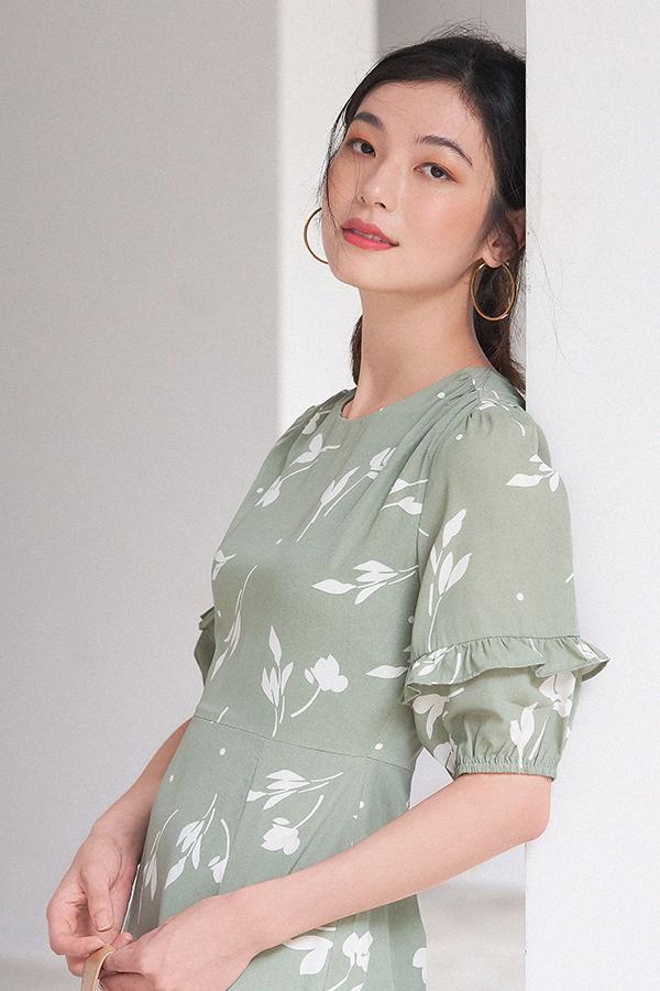 Perilla Midi Dress in Sage