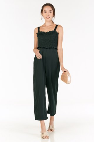 Lenni Smocked Jumpsuit in Forest