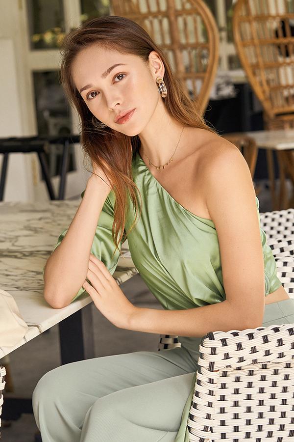 Jayelle Satin Toga Top in Fern