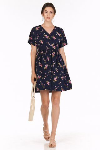 Calette Sleeved Dress in Navy