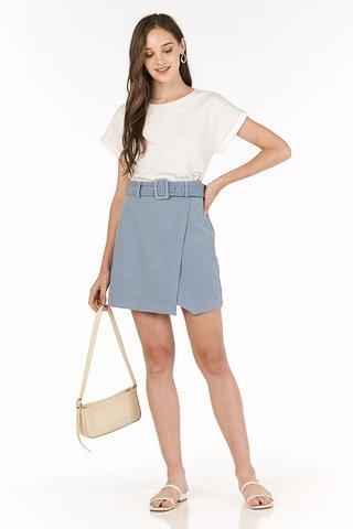 Cloe Corduroy Skirt in Dusty Blue