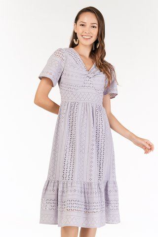 Nilya Eyelet Midi Dress in Lilac
