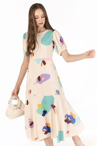 Ordell Sleeved Midi Dress in Cream