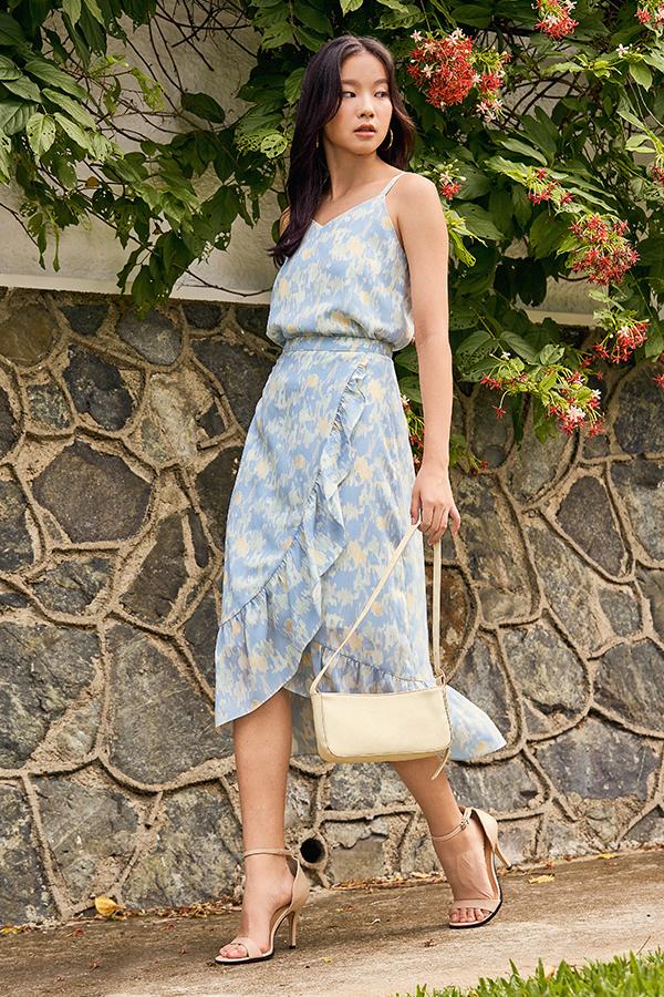 Charvine Ruffled Midi Skirt in Blue