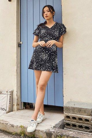 Relene Dotted Dress in Black