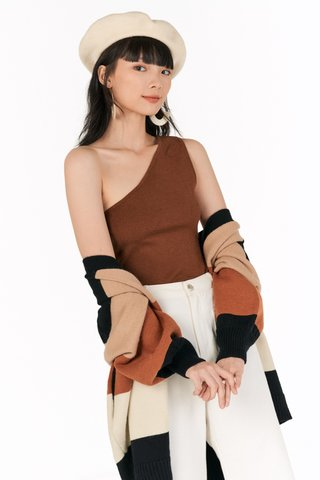 Arley Knitted Toga Top in Coffee
