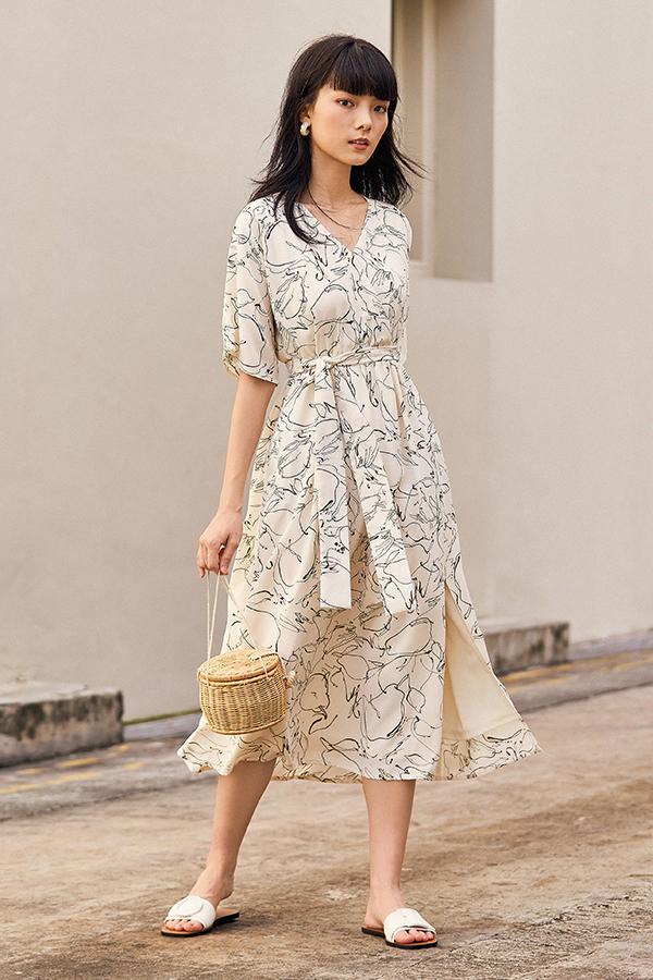 Rita Midi Dress in Cream