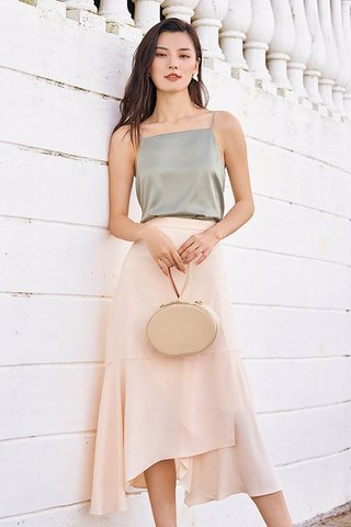 *Backorder* Bayson Satin Two Way Top in Moss