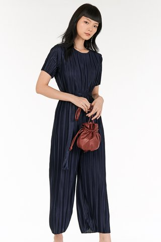 Levon Pleated Jumpsuit in Navy