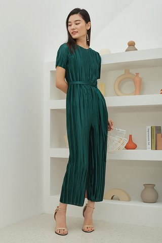 Levon Pleated Jumpsuit in Forest