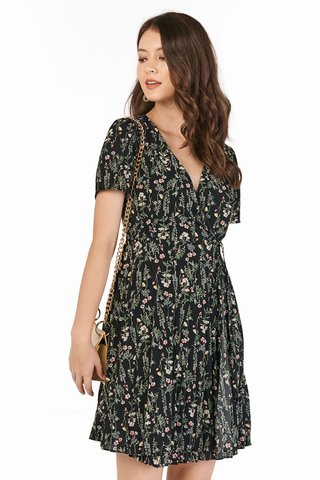 Delisa Wrap Dress in Black