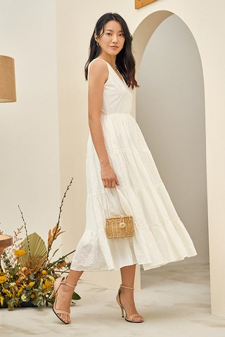 Clarina Dotted Maxi Dress in White
