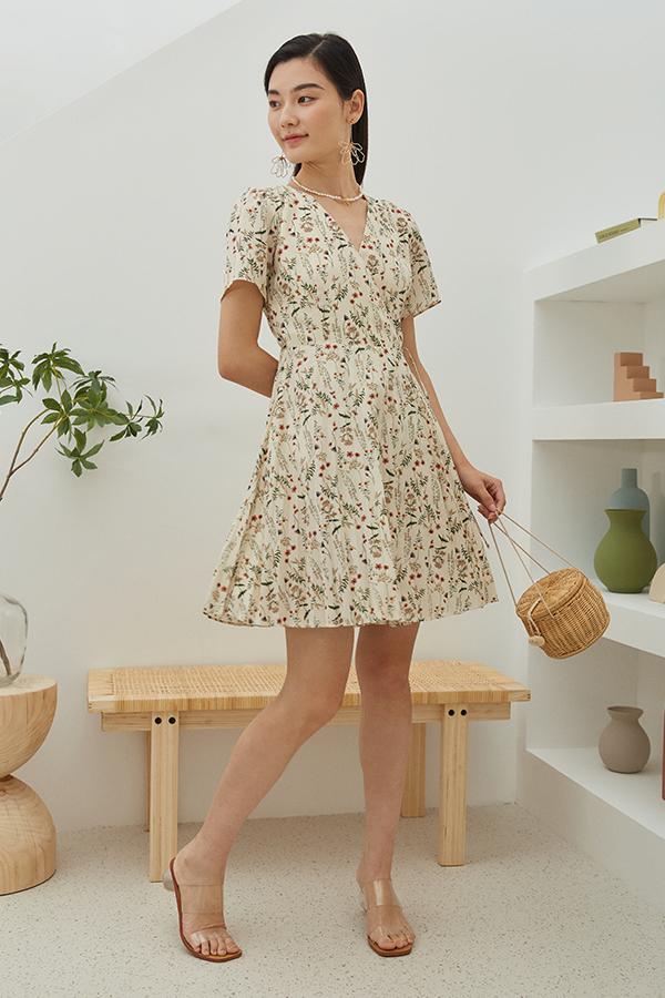 Delisa Wrap Dress in Cream