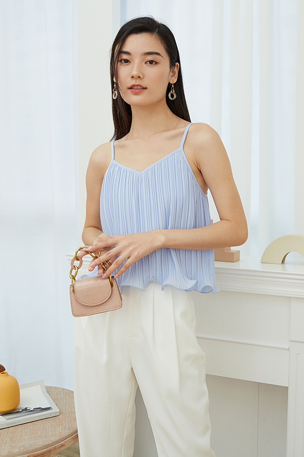 Ristelle Two Way Pleated Top in Pastel Blue