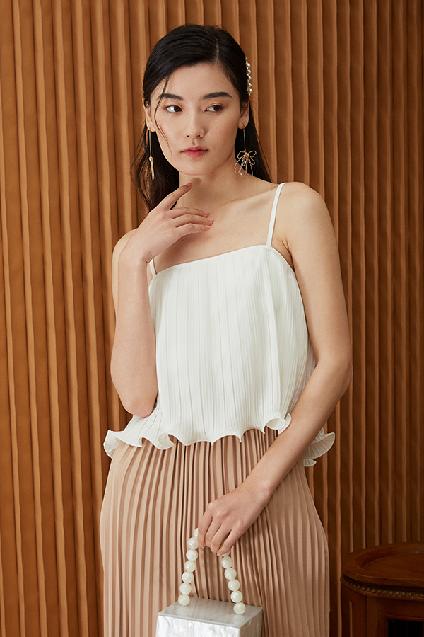 *Restock* Ristelle Two Way Pleated Top in White