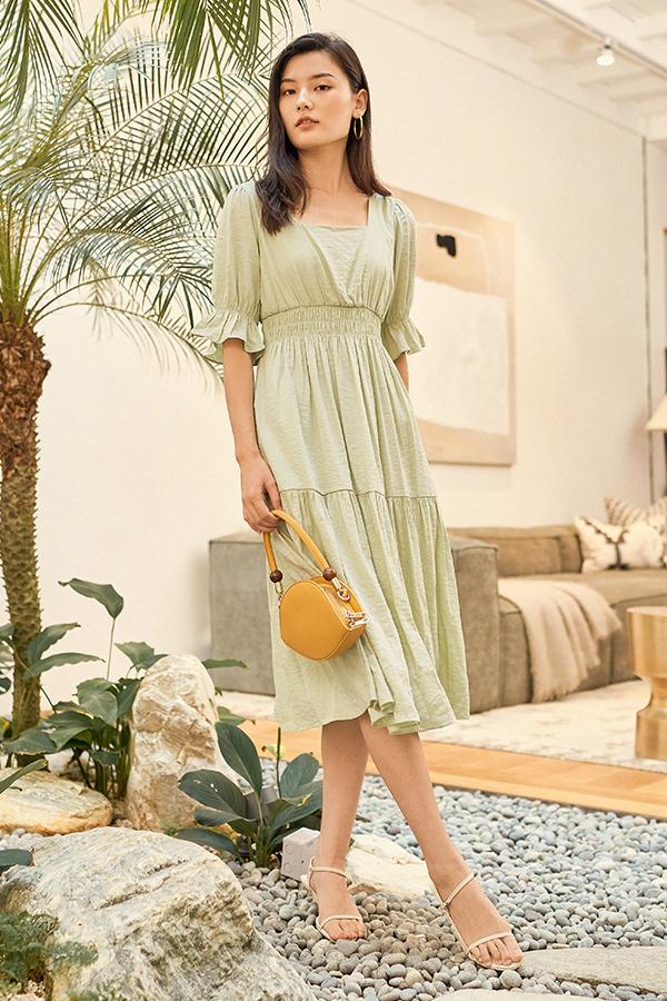 Jenell Midi Dress in Apple Green