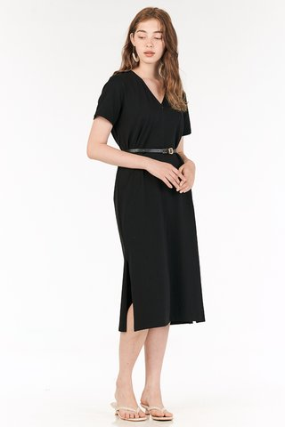 *Backorder* Landor Front Zip Midi Dress in Black