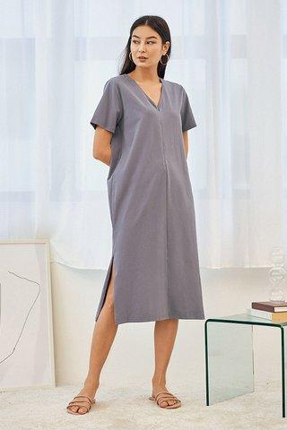 Landor Front Zip Midi Dress in Periwinkle