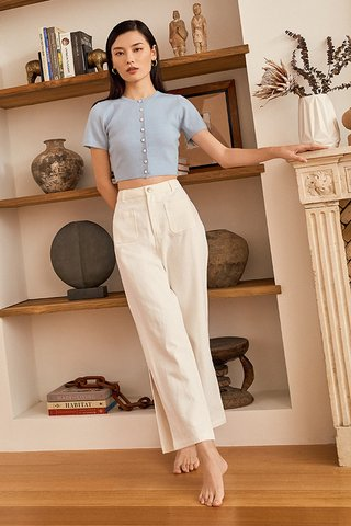 *Backorder* Lida Knitted Top in Sky Blue