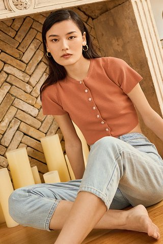 *Restock* Lida Knitted Top in Terracotta