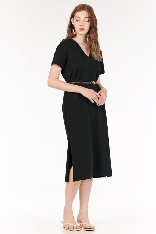 *Backorder* Landor Front Zip Midi Dress in Black