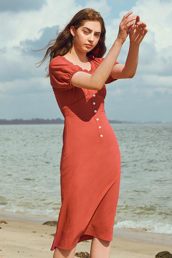 Trina Dress in Rust