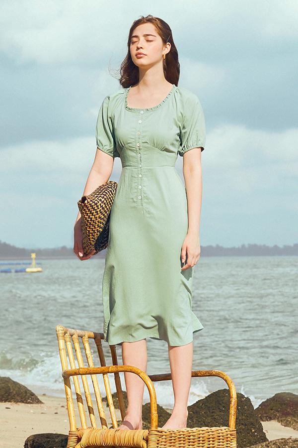 Trina Dress in Seafoam