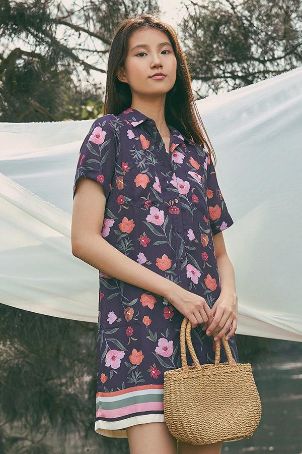 Lauryn Shirt Dress in Plum
