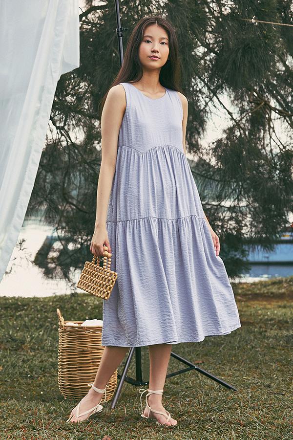 Milena Tiered Midi Dress in Ash Lilac