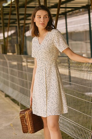 Doreen Dotted Dress in Ivory
