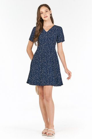 Doreen Dotted Dress in Navy
