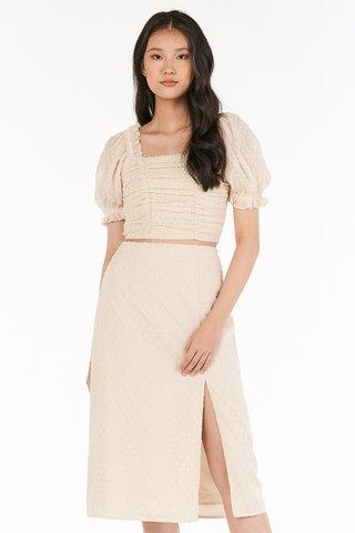 Flenda Dotted Midi Skirt in Cream