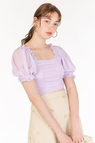 Flenda Dotted Smocked Top in Lilac
