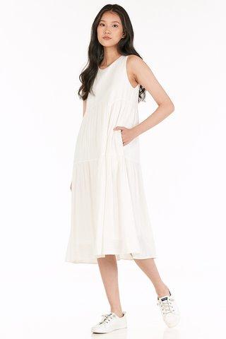 Milena Tiered Midi Dress in White