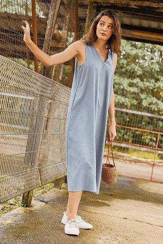 Oaklyn Two Way Midi Dress in Dusk Blue