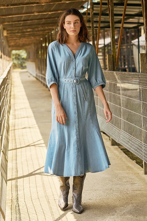 Krista Belted Midi Dress in Denim