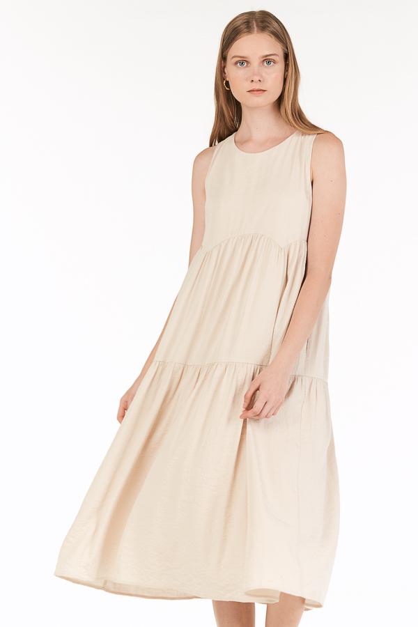 Milena Tiered Midi Dress in Cream