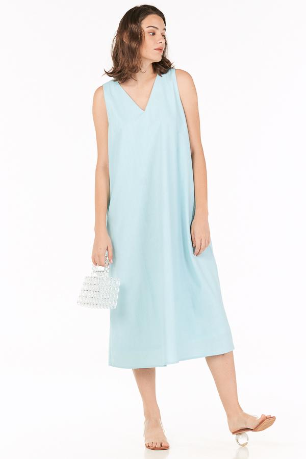 Oaklyn Two Way Midi Dress in Aqua Blue