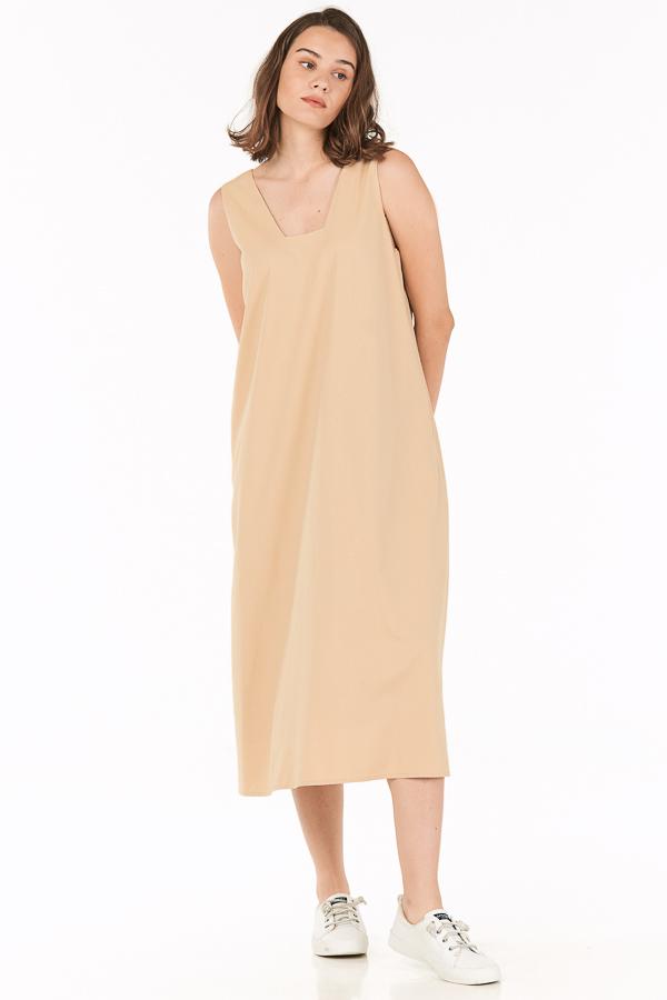 Oaklyn Two Way Midi Dress in Khaki