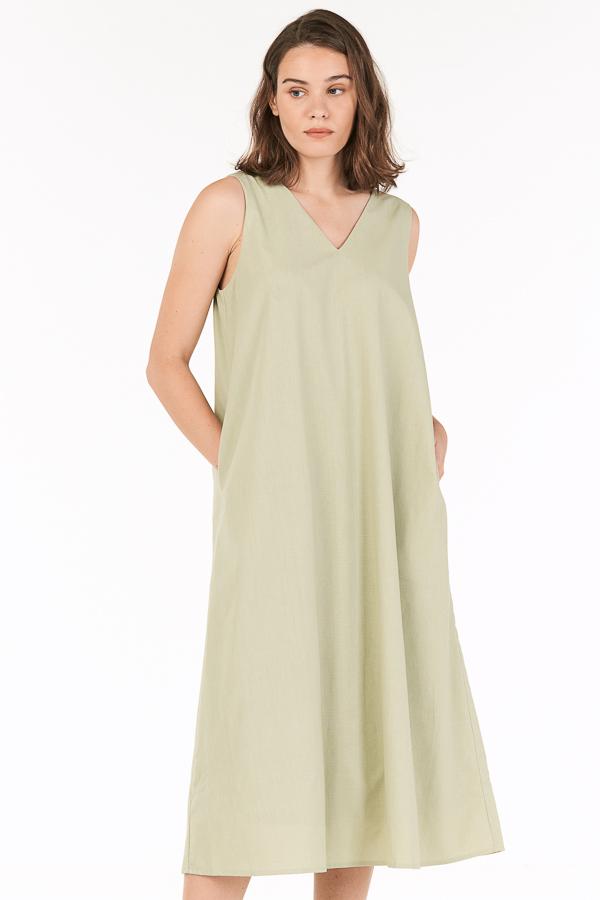 Oaklyn Two Way Midi Dress in Sage